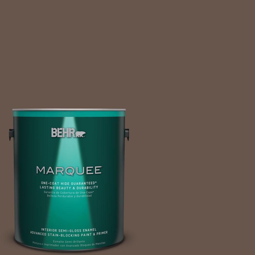1 gal. #PPU5-18 Chocolate Swirl One-Coat Hide Semi-Gloss Enamel Interior Paint