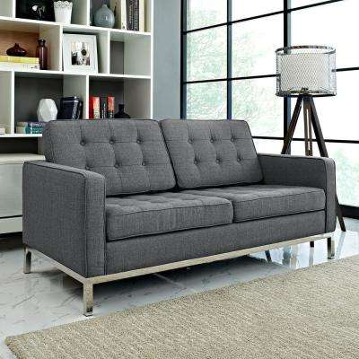 Loft Gray Upholstered Fabric Loveseat