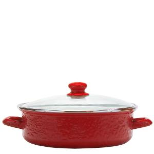 Solid Red 5 qt. Enamelware Saute Pan with Glass Lid