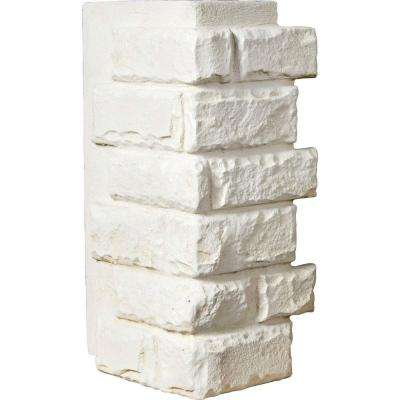 1-1/2 in. x 12-1/2 in. x 25 in. Dove White Urethane Cut Coarse Random Rock Outer Corner Wall Panel