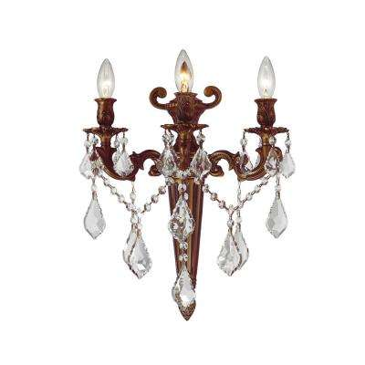 Versailles Collection 3-Light French Gold Crystal Torch Wall Sconce