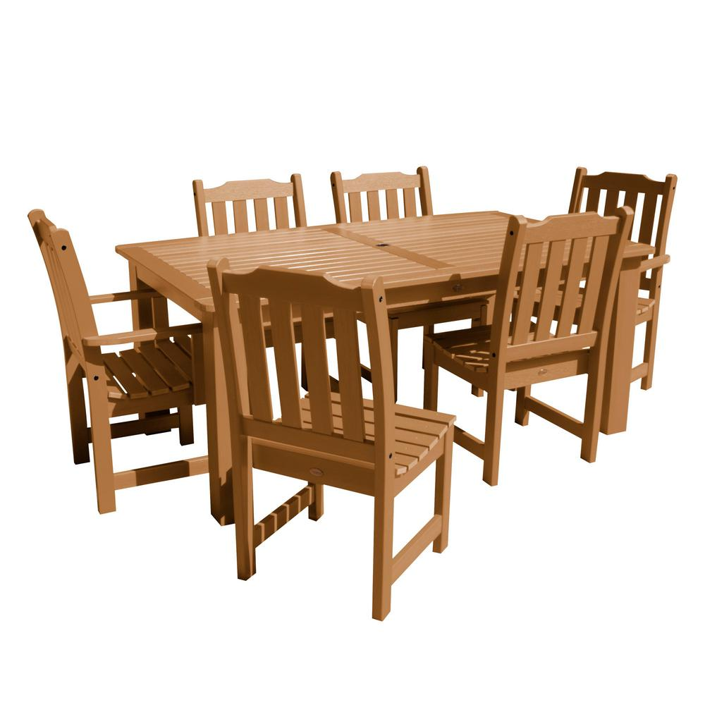Highwood Lehigh Toffee 7-Piece Recycled Plastic Rectangular Outdoor Dining Set