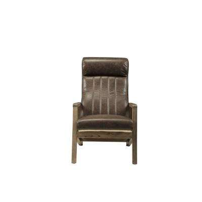 Emint Distressed Chocolate Top Grain Leather Accent Chair