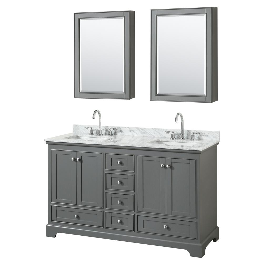 Wyndham Collection 60 in. W x 22 in. D Vanity in Dark Gray with ...