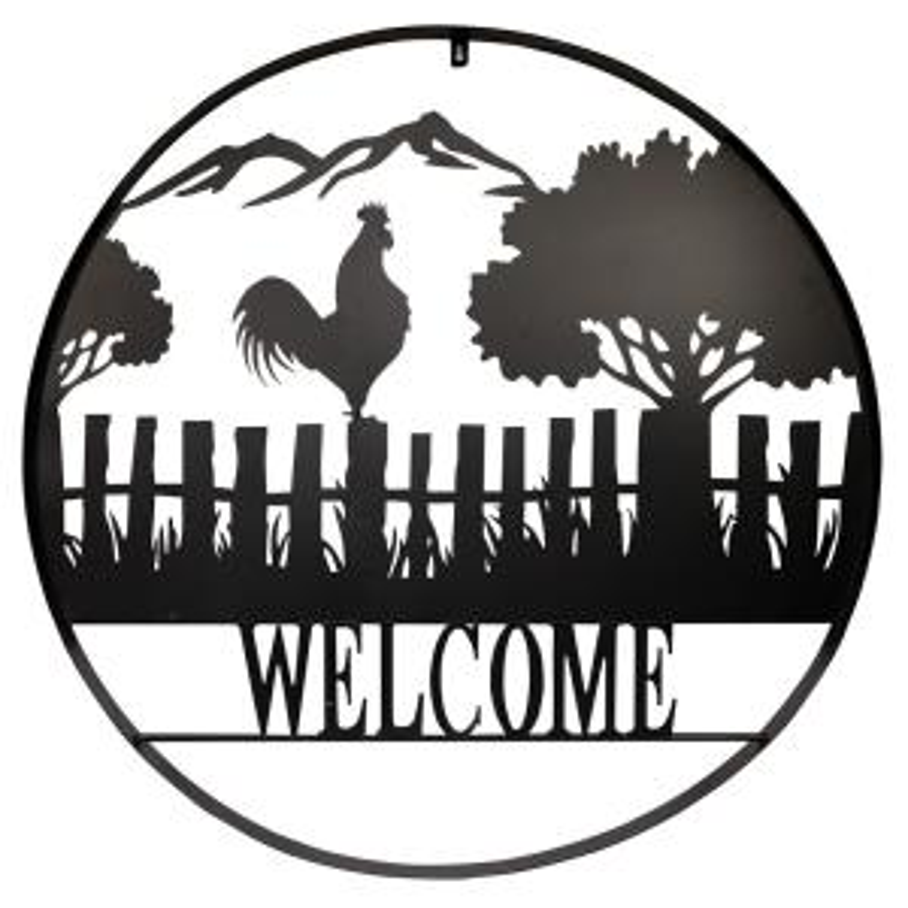 Black Silhouette Farm Scenery Welcome Décor
