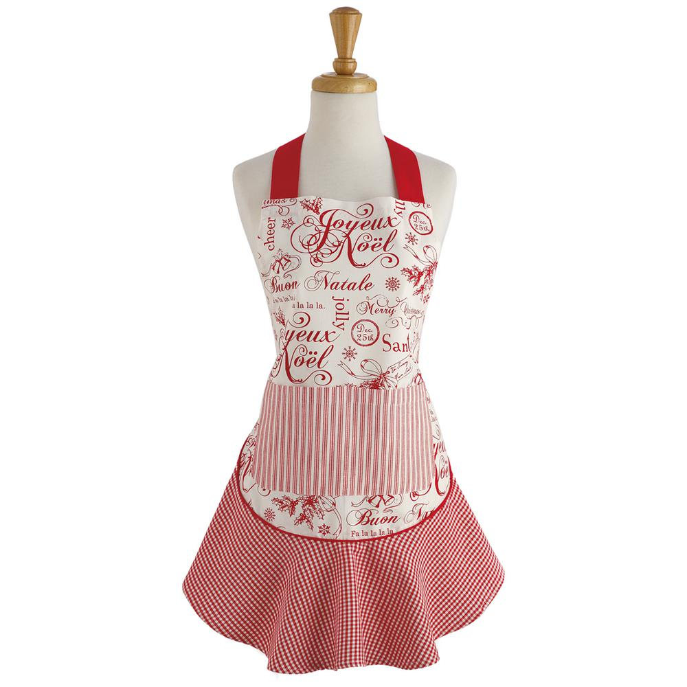 Design Imports Red Vintage Christmas Ruffle Apron-COSD39327 - The ...