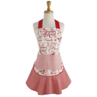 Red Vintage Christmas Ruffle Apron