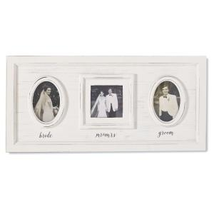 Wedding Triple Photo 4 inch x 4 inch White Washed Distressed Wood Picture Frame by
