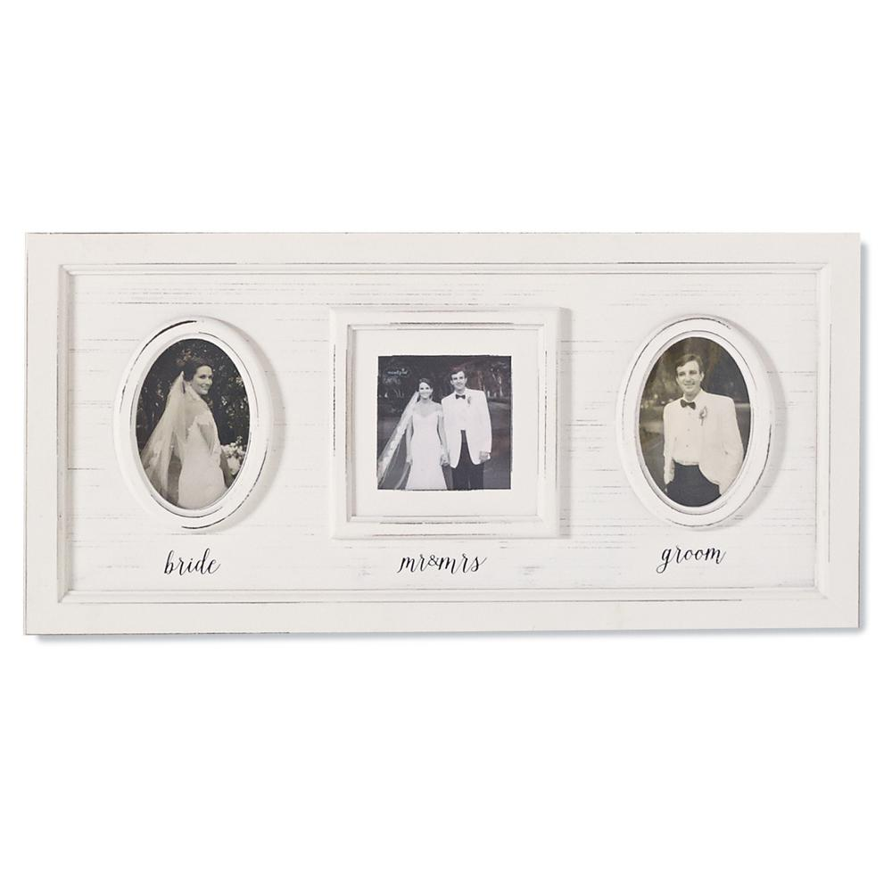 Wedding Triple Photo 4 in. x 4 in. White Washed Distressed Wood ...