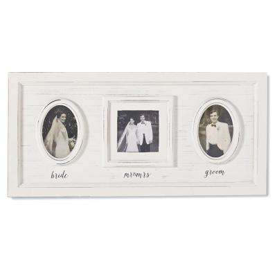 Wedding Triple Photo 4 in. x 4 in. White Washed Distressed Wood Picture Frame