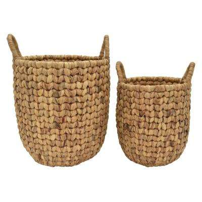 18 in. x 18 in. x 20 in. Water Hyacinth Basket in Brown (Set of 2)