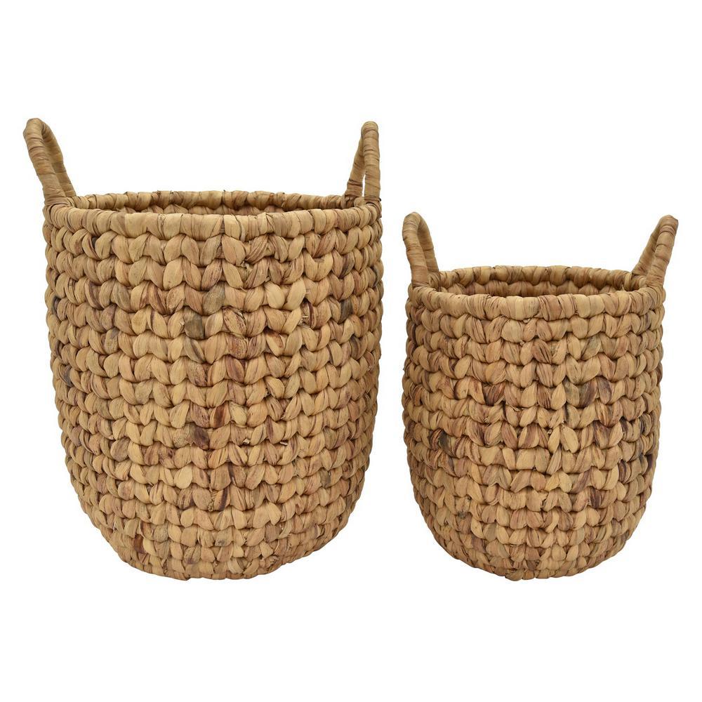 18 in. x 18 in. x 20 in. Water Hyacinth Basket in Brown (Set of 2)