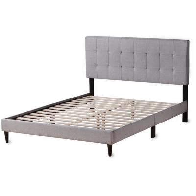 Cara Upholstered Platform Bed Frame with Square Tufted Headboard- Full, Stone