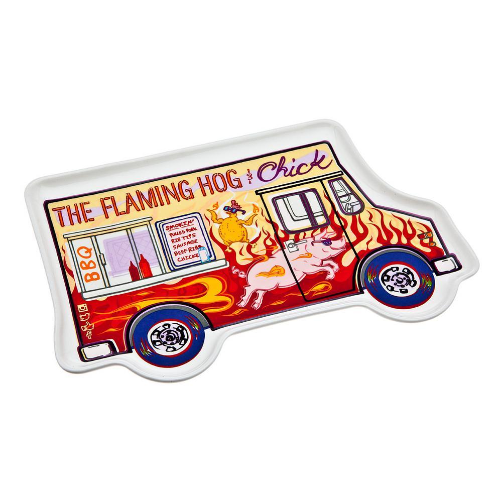 Food Truck Flamming Hog Porcelain Tray