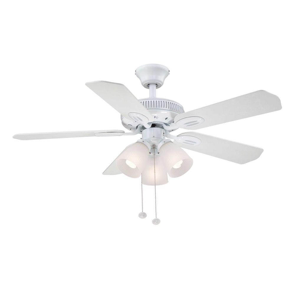 Hampton Bay Glendale 42 In Indoor White Ceiling Fan With Light Kit Am212 Wh The Home Depot