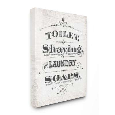 "16 in. x 20 in.  ""Vintage Toilet Shaving Laundry and Soaps Typography Sign"" by Daphne Polselli Canvas Wall Art"