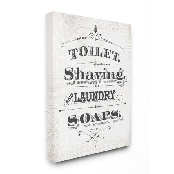 The Stupell Home Decor Collection 16 In X 20 In Vintage Toilet Shaving Laundry And Soaps Typography Sign By Daphne Polselli Canvas Wall Art Wrp 1209 Cn 16x20 The Home Depot