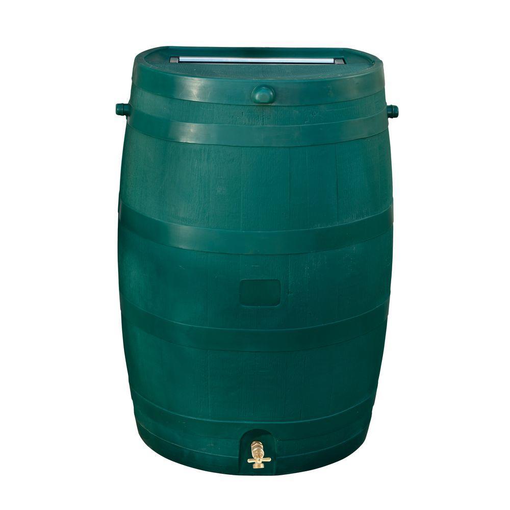 50 Gal. Rain Barrel with Green Brass Spigot