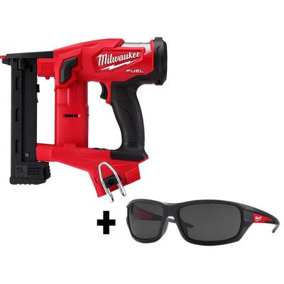 M18 FUEL 1/4 in. 18-Volt 18-Gauge Lithium-Ion Brushless Narrow Crown Stapler and Tinted Performance Safety Glasses