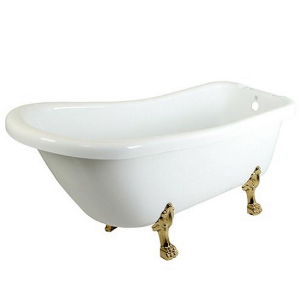 5.6 ft. Acrylic Polished Brass Claw Foot Slipper Oval Tub with