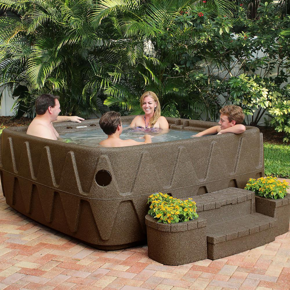 AquaRest Spas Elite 500 5-Person Plug and Play Lounger Hot Tub with 29 Stainless Jets Ozone and LED Waterfall in Brownstone