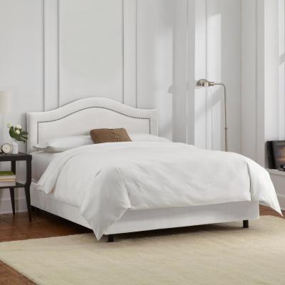 Jerry Velvet White Full Inset Bed with Pewter Nail Buttons