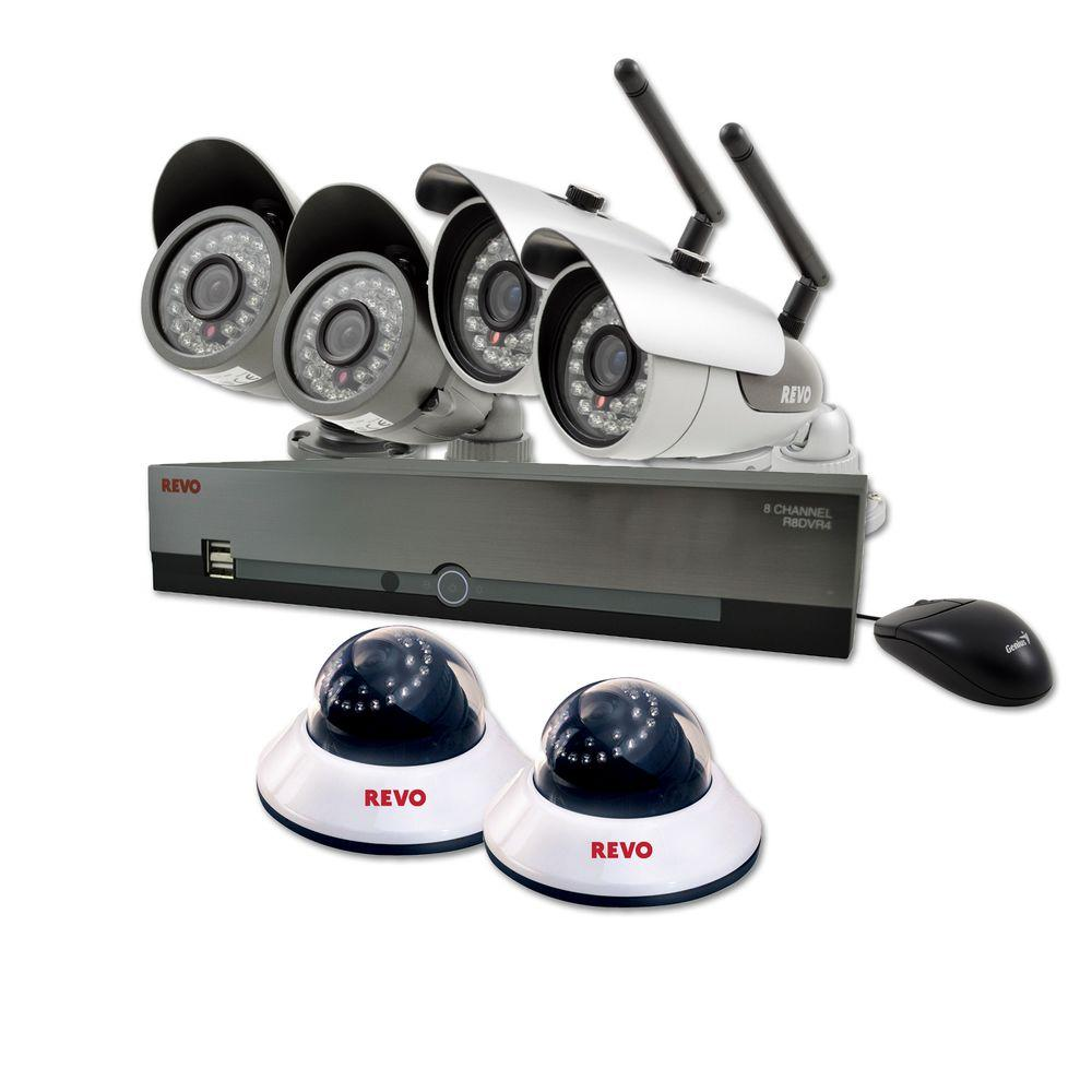 Revo 8-Channel 1 TB DVR Surveillance System with (2) Wireless Bullet Cameras and (4) Wired Cameras