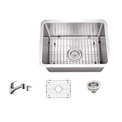 Undermount Stainless Steel 15 in. 16-Gauge Bar Sink in Brushed Stainless with Low Profile Pull Out Kitchen Faucet