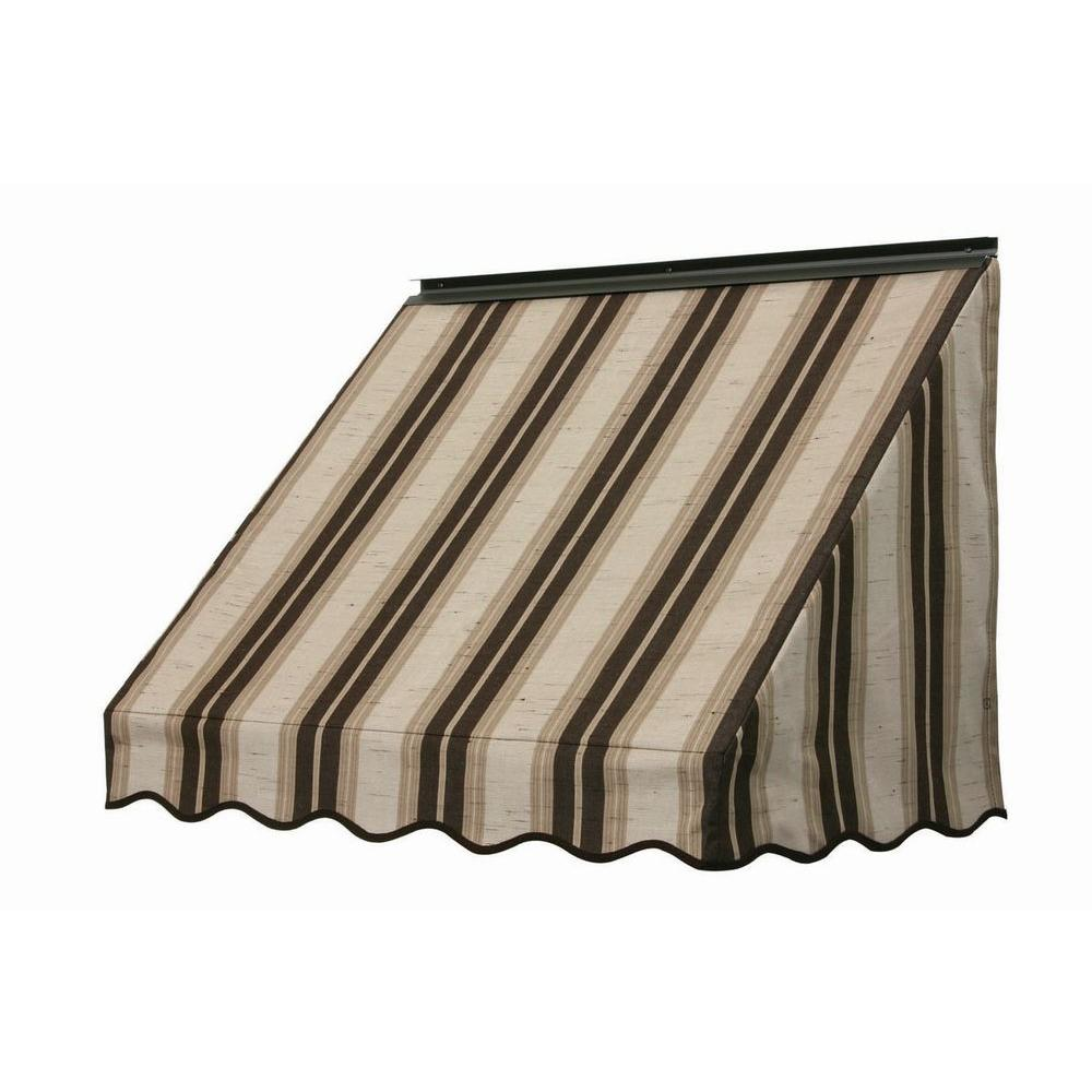 NuImage Awnings 3 ft. 3700 Series Fabric Window Awning (28 in. H x 24 in. D) in Chocolate Chip Fancy