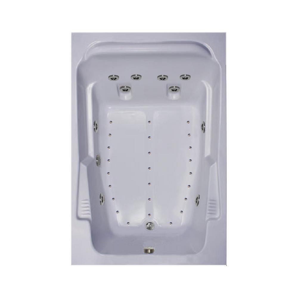 72 in. Acrylic Rectangular Drop-in Air and Whirlpool Bathtub in Black