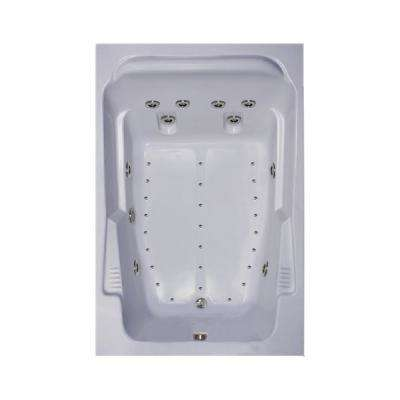 72 in. Acrylic Rectangular Drop-in Air and Whirlpool Bathtub in White