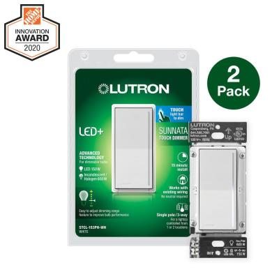 Sunnata Touch Dimmer with LED+ Advanced Technology for Superior Dimming of LED, Incandescent/Halogen Bulbs, White (2-Pk)
