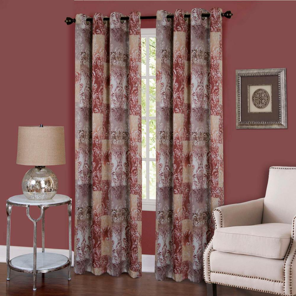 Vogue Marsala Grommet Window Curtain Panel - 50 in. W x 63 in. L