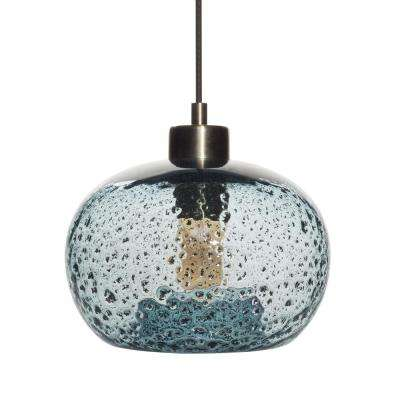 Blue pendant lights lighting the home depot 9 in w x 6 in h 1 light brass rustic seeded hand aloadofball Image collections