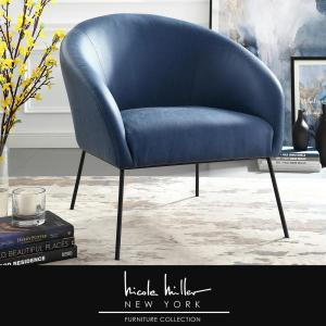 Astonishing Nicole Miller Darrell Navy Black Pu Leather Accent Chair Ocoug Best Dining Table And Chair Ideas Images Ocougorg