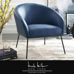 Darrell Navy/Black PU Leather Accent Chair with Armless
