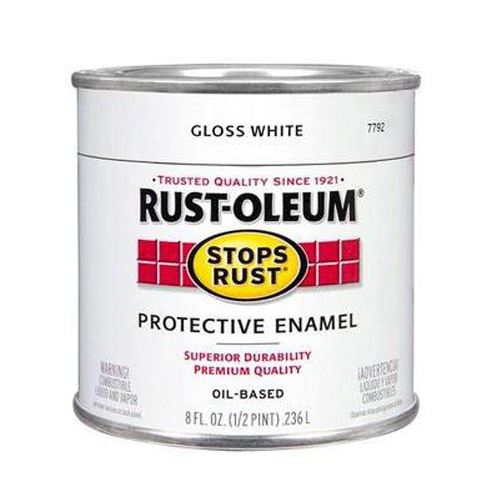 Rust Oleum Stops Rust 8 Oz Gloss White Protective Enamel Paint 7792730 The Home Depot