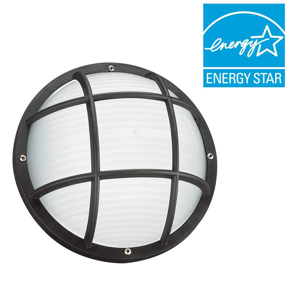 Sea Gull Lighting Bayside Collection 1-Light Outdoor Black Bulkhead Fluorescent Wall/Ceiling Fixture with Frosted Diffuser