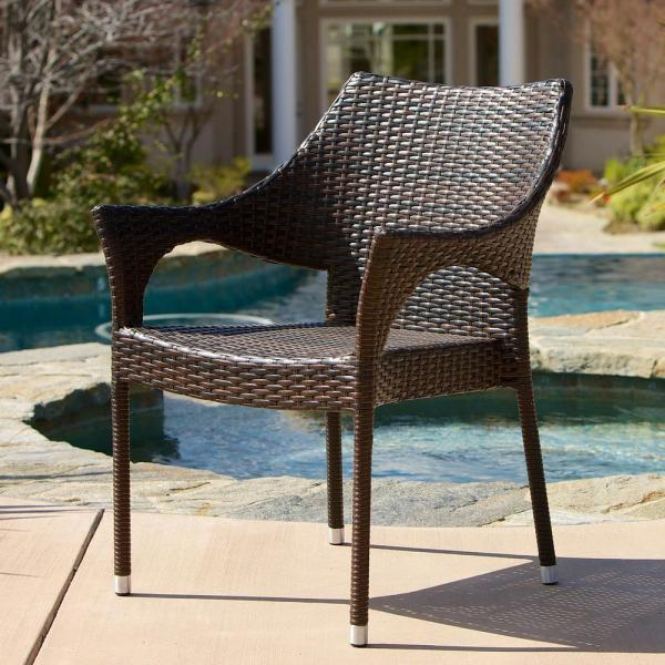 Noble House Cliff Multi Brown Wicker Outdoor Dining Chairs Set Of 2 12419 The Home Depot