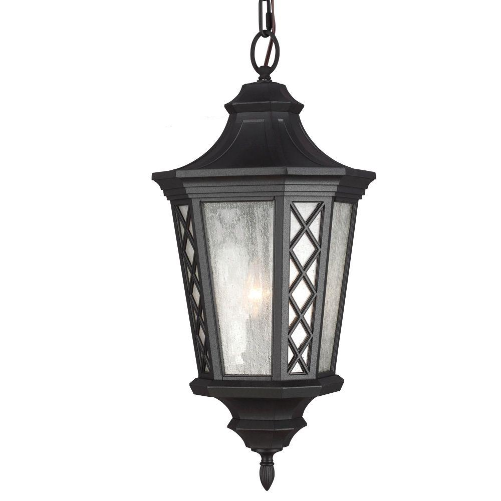 Wembley Park Collection 3-Light Textured Black Outdoor Hanging Lantern Pendant
