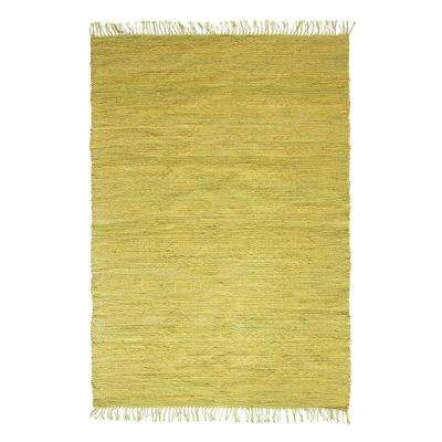 Chartreuse Green 2.5 ft. x 8 ft. Area Rug with Fringe