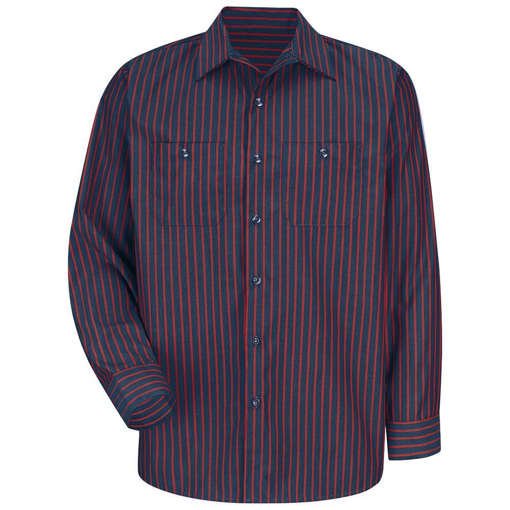 cf9ed6a463 Red Kap Men s Size XL Navy   Red Stripe Long-Sleeve Work Shirt ...