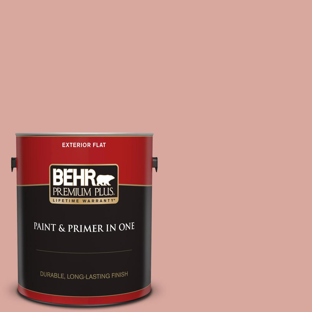 Behr Premium Plus 1 Gal Pmd 70 Cottage Rose Flat Exterior Paint And Primer In One 405001 The Home Depot