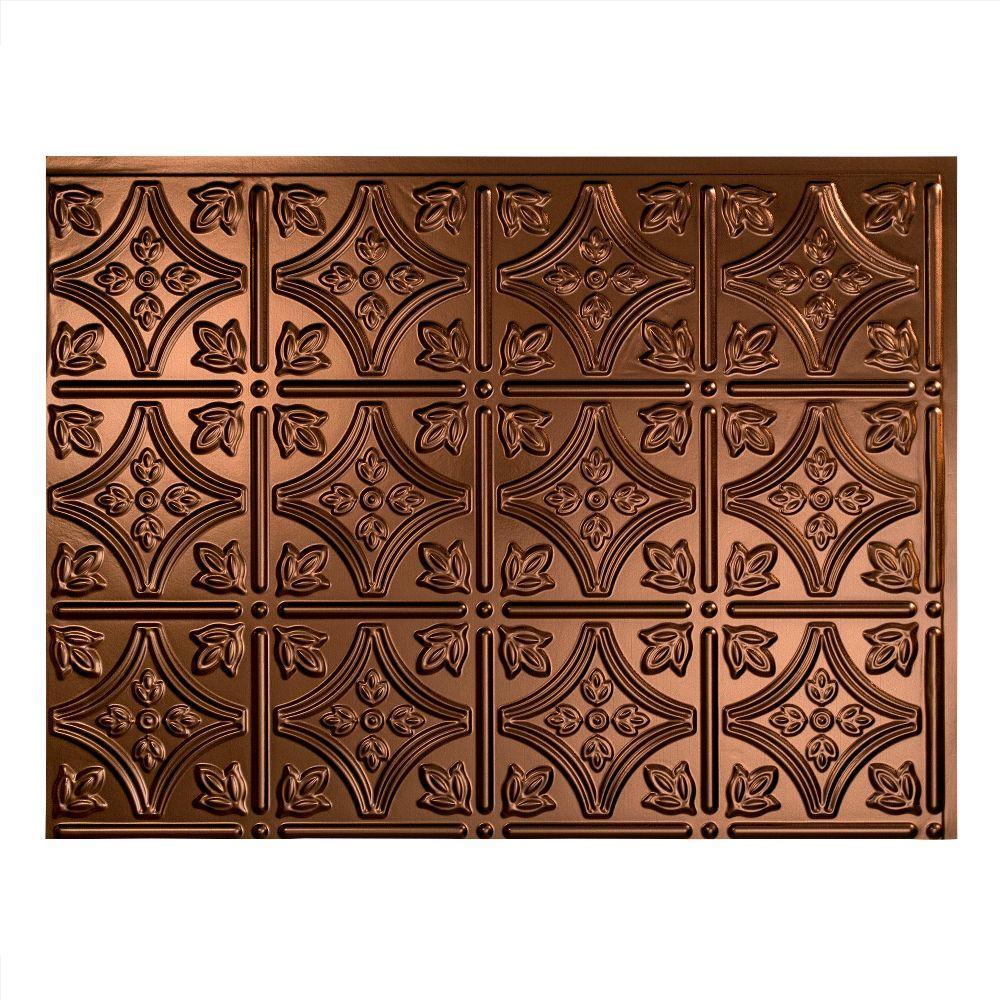 Traditional 1 18 in. x 24 in. Oil Rubbed Bronze Vinyl Decorative Wall Tile Backsplash 18 sq. ft. Kit