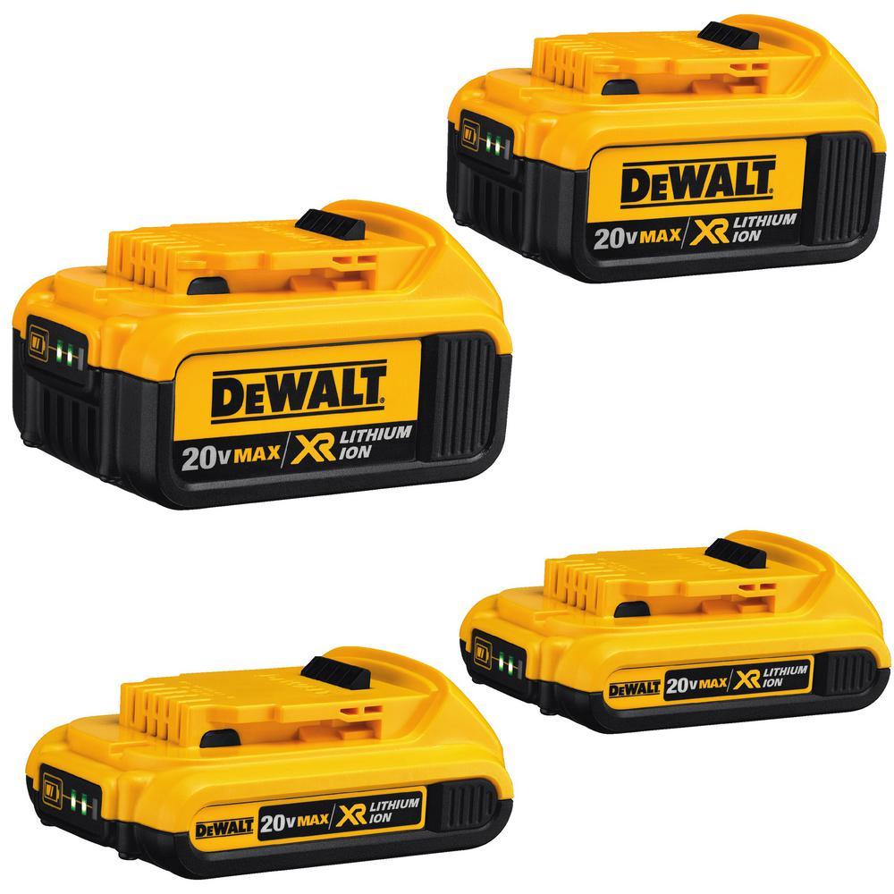 4-Pack Dewalt 20-Volt Max 2-Amp-Hours/4-Amp-Hours Power Tool Battery