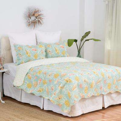 Green St. Martin Blue King Quilt Set