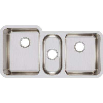 Lustertone Undermount Stainless Steel 40 in. Triple Bowl Kitchen Sink