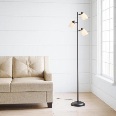 64.5 in. Black Track Tree Floor Lamp with 3 White Plastic Shades