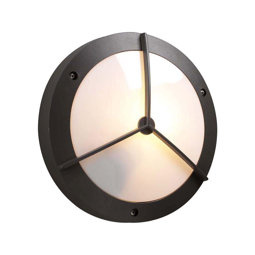 PLC Lighting 1-Light Outdoor Bronze Wall Lantern Sconce with Matte Opal Glass