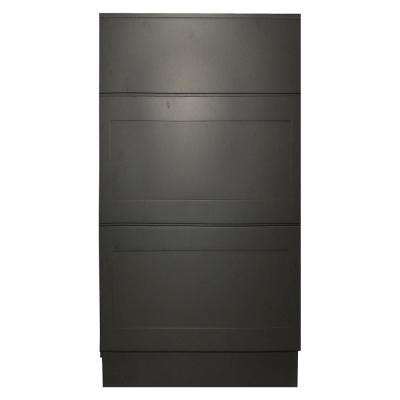 Black Satin Shaker II - Ready to Assemble 15x34.5x24 in. 3 Drawer Base Cabinet